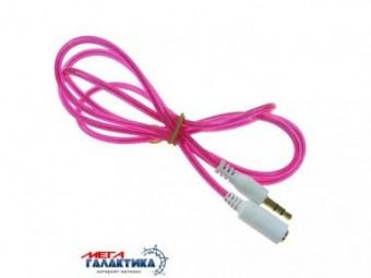 Удлинитель Megag Jack 3.5mm M (папа) - Jack 3.5mm F (мама) (3 пин) 1m позолоченные коннекторы (удлинитель наушников) Pink