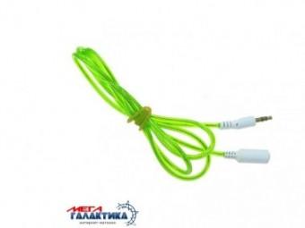 Удлинитель Megag Jack 3.5mm M (папа) - Jack 3.5mm F (мама) (3 пин) 1m позолоченные коннекторы (удлинитель наушников) Green
