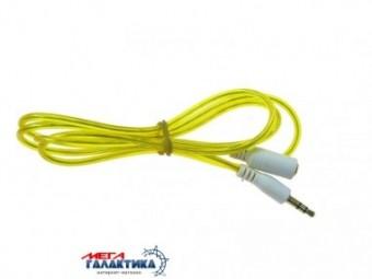 Удлинитель Megag Jack 3.5mm M (папа) - Jack 3.5mm F (мама) (3 пин) 1m позолоченные коннекторы (удлинитель наушников) Yellow
