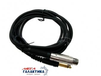 Кабель Megag XLR F (мама) - Jack 6.3mm M (папа) (2 пин) (Микрофонный моно) 5m позолоченные коннекторы Black