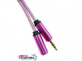 Удлинитель Megag Jack 3.5mm M (папа) - Jack 3.5mm F (мама) (3 пин) Holographic Picture HQ 1m Оплетка позолоченные коннекторы (удлинитель наушников) Pink