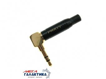 Коннектор PRATT Jack 3.5mm M (папа) (3 пин) Gold Plated  Под пайку Угловой 90° позолоченные коннекторы Black