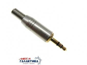 Коннектор PRATT Jack 3.5mm M (папа) (3 пин) Gold Plated  позолоченные коннекторы Silver
