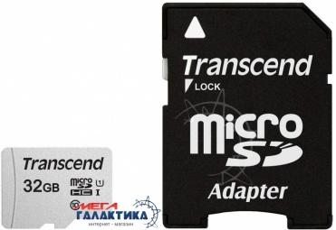 Карта памяти Transcend micro SDHC 32GB UHS-1 (U1) (TS32GUSD300S-A) +адаптер sd, R95/W45MB/s