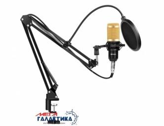 Микрофон Music D.J. M800 со стойкой и ветрозащитой Проводное Gold Box
