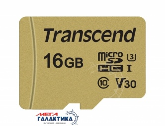 Карта памяти Transcend micro SDHC 16GB UHS-1 (U3) (TS16GUSD500S) +адаптер sd, R95/W60MB/s