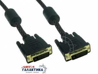 Кабель Megag DVI M (папа) - DVI M (папа) (24+1 пин) 2 Феррита Оплетка позолоченные коннекторы 5m Black OEM
