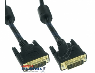 Кабель Megag DVI M (папа) - DVI M (папа) (24+5 пин) 2 Феррита Оплетка позолоченные коннекторы 10m Black OEM