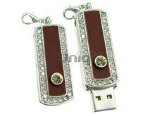 Флешка Uniq USB 2.0 ФАВОРИТ СЕРЕБРО+КОЖА коричневый инкруст 86+2 желт.кам 4GB (04C14006U2)