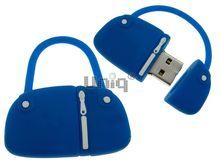 Флешка Uniq USB 2.0 СУМОЧКА дамская голубая Flash USB40х25мм, 12гр, водонепрониц. Резина 4GB (04C14018U2)
