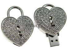 Флешка Uniq USB 2.0 СЕРДЦЕ на ЗАМКЕ серебро 70кам. U-838 Водонепр. 4GB (04C14052U2)