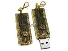 Флешка Uniq USB 2.0 ФАВОРИТ ЗОЛОТОЙ инкруст 86+2 желт.камня Водонепр. 4GB (04C14205U2)