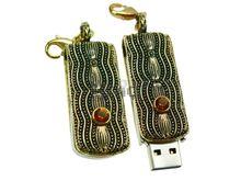 Флешка Uniq USB 2.0 БРЫЗГИ Золотой Реки золото / черный [металл, камни] 4GB (04C14206U2)