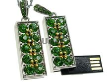 Флешка Uniq USB 2.0 АЛЛЕЯ СЛАВЫ серебро / зеленный [металл, камни] 4GB (04C14473U2)