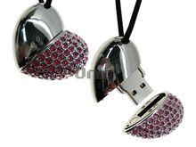 Флешка Uniq USB 2.0 СЕРДЦЕ КРАСАВИЦЫ Серебро+розовые камни 110кам. 63.5гр. 4GB (04C14476U2)