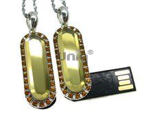 Флешка Uniq USB 2.0 ЦАРЕВНА серебро / желтый [металл, камни] 4GB (04C14489U2)