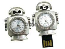 Флешка Uniq USB 2.0 ЧАСЫ Робот серебро / белый [металл, камни] 4GB (04C14498U2)