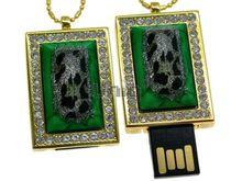 Флешка Uniq USB 2.0 ШКАТУЛКА МАЛАХИТОВАЯ золото / зеленый 4GB (04C14499U2)