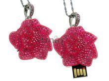 Флешка Uniq USB 2.0 РОЗА МАРМЕЛАД МАЛИНОВАЯ инкруст. кулон Водонепр. 4GB (04C14569U2)