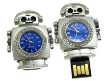 Флешка Uniq USB 2.0 ЧАСЫ Робот серебро / синий [металл, камни] 4GB (04C14612U2)