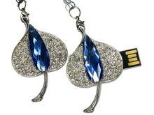 Флешка Uniq USB 2.0 ЛИСТ Хрустальная Слеза Серебро / Синий 4GB (04C14616U2)