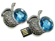 Флешка Uniq USB 2.0 ПЛОДЫ ФРУКТЫ Apple Кабюшон серебро / голубой [металл, камни] 4GB (04C14623U2)
