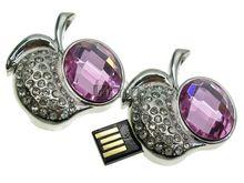 Флешка Uniq USB 2.0 ПЛОДЫ ФРУКТЫ Apple Кабюшон серебро / розовый [металл, камни] 4GB (04C14624U2)