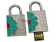 Флешка Uniq USB 2.0 ЗАМОК Цветок Серебро / Зеленый 4GB (04C14627U2)
