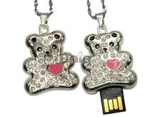 Флешка Uniq USB 2.0 АНИМАЛ Медвежонок Розовое Сердце Серебро 4GB (04C14641U2)