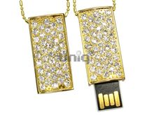 Флешка Uniq USB 2.0 CLASSIC Подвеска Золото / Фианит 4GB (04C14644U2)