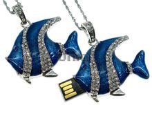 Флешка Uniq USB 2.0 РЫБА Скалярия Эмаль синяя, инкруст., серебро, кулон 51гр 4GB (04C14684U2)