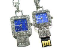Флешка Uniq USB 2.0 ЧАСЫ Кулон Квадрат синий [металл, камни] 4GB (04C14695U2)
