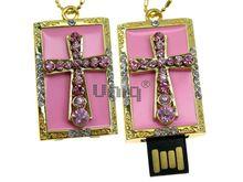 Флешка Uniq USB 2.0 ПАННО Крест Ювелирный Розовый 4GB (04C14731U2)