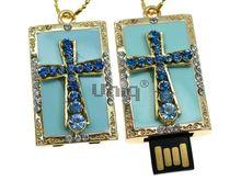 Флешка Uniq USB 2.0 ПАННО Крест Ювелирный Голубой 4GB (04C14732U2)