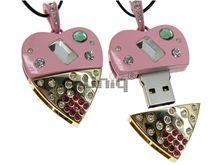 Флешка Uniq USB 2.0 СЕРДЦЕ ТЕХНО-ГЛАМУР розов. + золото, кулон 30кам. 31гр 4GB (04C14789U2)