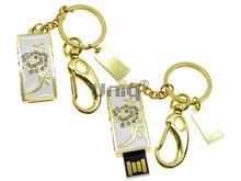 Флешка Uniq USB 2.0 ШАМАХАНСКАЯ ЦАРИЦА Роза золото / белый [металл, эмаль, камни] 4GB (04C14791U2)