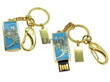 Флешка Uniq USB 2.0 ШАМАХАНСКАЯ ЦАРИЦА Роза золото / голубой [металл, эмаль, камни] 4GB (04C14792U2)