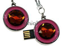 Флешка Uniq USB 2.0 СОЛНЦЕ янтарное, розовая эмаль 25гр 4GB (04C14801U2)
