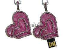 Флешка Uniq USB 2.0 СЕРДЦЕ ВАЛЕНТИНКА инкрустация,эмаль розов.серебро 85кам., 34гр 4GB (04C14829U2)