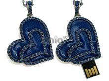 Флешка Uniq USB 2.0 СЕРДЦЕ ВАЛЕНТИНКА инкрустация,эмаль голуб..серебро 85кам., 34гр 4GB (04C14830U2)