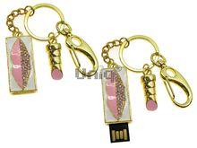 Флешка Uniq USB 2.0 ШАМАХАНСКАЯ ЦАРИЦА Поцелуй розовый золото [металл, белая эмаль, камни] 4GB (04C14834U2)
