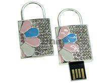 Флешка Uniq USB 2.0 ЗАМОК Цветок Серебро / Розовый 4GB (04C14835U2)