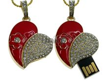 Флешка Uniq USB 2.0 СЕРДЦЕ ВЛЮБЛЕННОЕ Цветок + эмаль, красн, 45кам золото Водонепр. 4GB (04C14837U2)