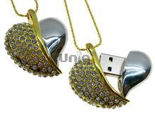 Флешка Uniq USB 2.0 СЕРДЦЕ ВЕСНЫ инкруст., золото + серебро, кулон 124кам. 42гр 4GB (04C14849U2)