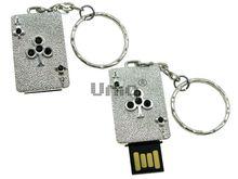 Флешка Uniq USB 2.0 ТУЗ ТРЕФОВЫЙ серебро 8кам. 14гр. Водонепр. 4GB (04C14850U2)