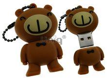 Флешка Uniq USB 2.0 МЕДВЕЖОНОК улыбающийся, рыжий, разборная, противоударн. Резина 4GB (04C14886U2)