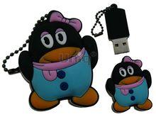 Флешка Uniq USB 2.0 ПИНГВИН Девочка в бирюзовом, с розов. бантом, противоударн. Резина 4GB (04C14897U2)