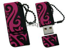 Флешка Uniq USB 2.0 ОРНАМЕНТ черн-розов разборн, водонепрониц. Резина 4GB (04C14914U2)