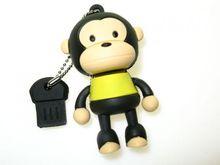 Флешка Uniq USB 2.0 ОБЕЗЬЯНКА черн-желтая. брелок разборная, противоударн. Резина 4GB (04C14945U2)