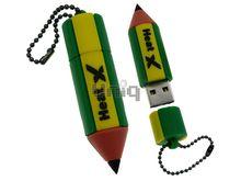 Флешка Uniq USB 2.0 КАРАНДАШ желт-зеленый противоударн, водонепрониц. 12гр. Резина 4GB (04C14948U2)